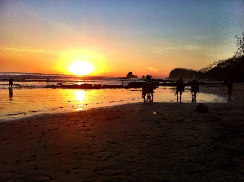 Playa Maderas in Nicaragua at sunset