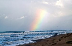 rainbow at Villa Gesell Beach in Argentina