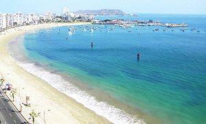 shore of Salinas Beach in Ecuador