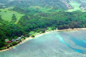 aerial view of Anini Beach on the island of Kauia