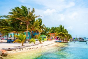 Colorful buildings along the beach at Caye Caulker, Belize