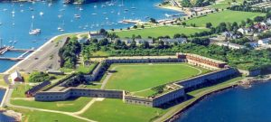 Aerial view of a beautiful day at Fort Adams State Park