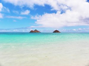 Beautiful day with the light blue waters of Lanikai Beach in Hawaii