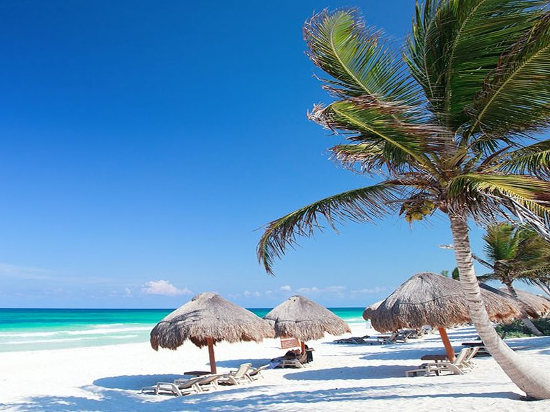 Palm trees, lounging chairs, and huts on the white sand of the marvelous Playa Paraíso
