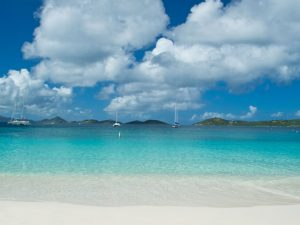 A typical day at Honeymoon Beach on the U.S. Virgin Islands