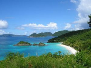 Beautiful view of one of the top beaches in the U.S. Virgin Islands, Trunk Bay
