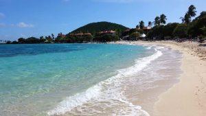 View of the shoreline of Sapphire Beach in the U.S. Virgin Islands