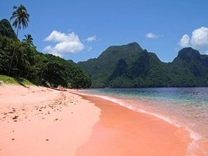Typical day at the pink sand beach of Playa Colorada in Venezuela