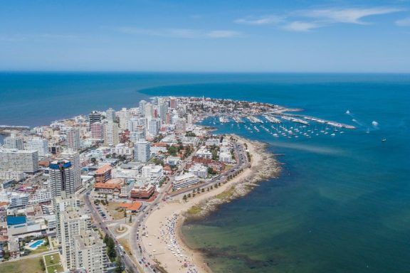 A clear day at one of the best beaches of Uruguay, Punta del Este