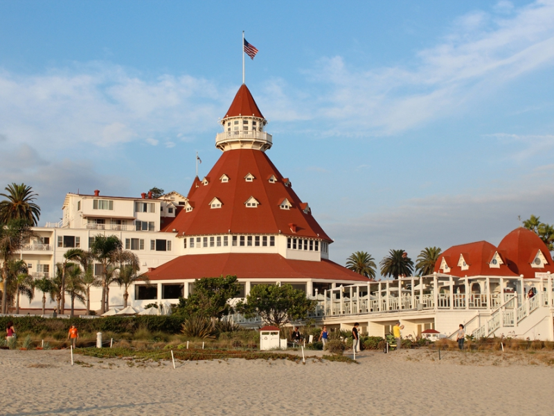Hotel del Coronado standing on one of the best San Diego beaches