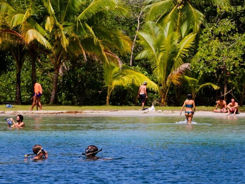 People snorkel in the starfish-rich crystal-clear waters of the jungle-lined Playa Estrella