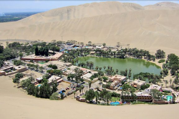 View of Huacachina Oasis in Peru