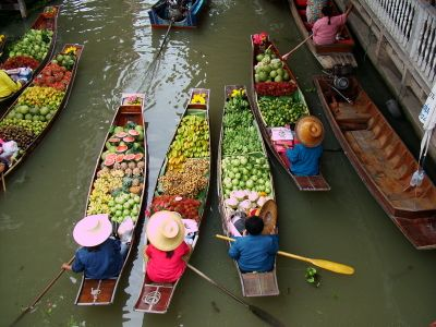 View of long-tail boats at the floating market of Bangkok in Thailand