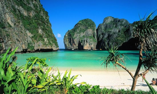 The now-closed Maya Bay beach on Ko Phi Phi