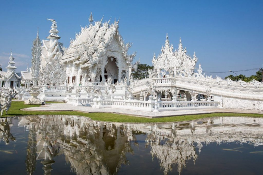 View of the outside of the White Temple in Thailand
