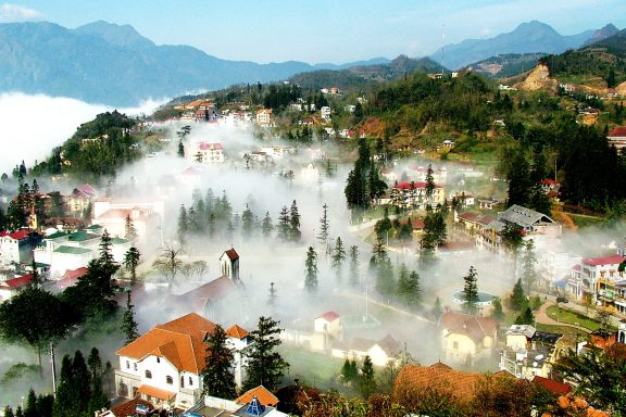 Misty winter morning in Sapa, Vietnam