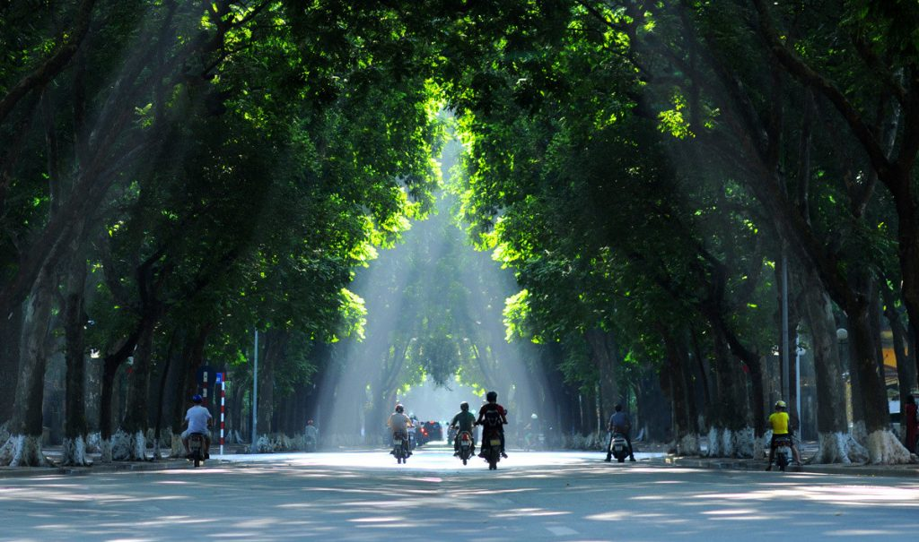 Streetview of one of the best times to visit Vietnam is in the Autumn