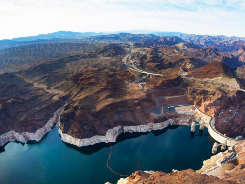 The Lake Mead and Hoover Dam on the Colorado River