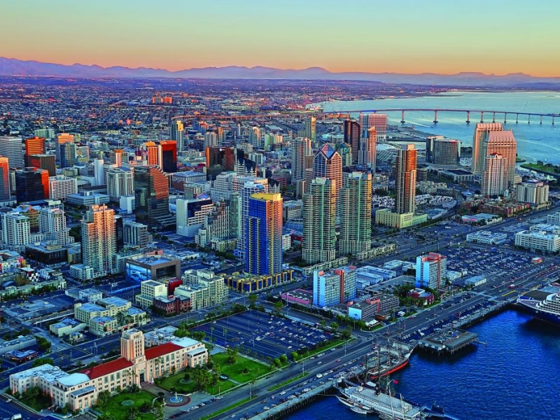 Aerial shot of San Diego, California