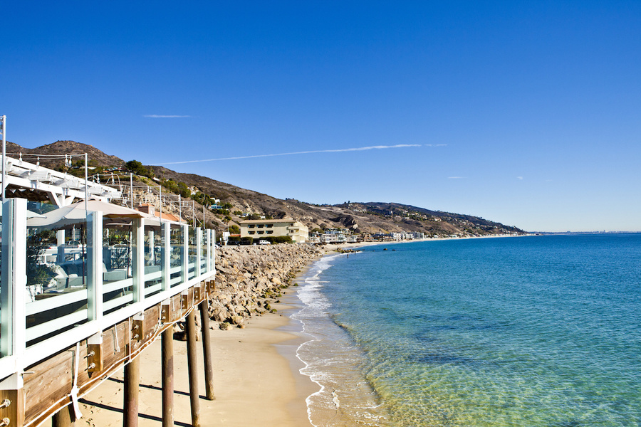 The Malibu seaside walk and restaurants stare out into the crystal-clear blue Pacific Ocean