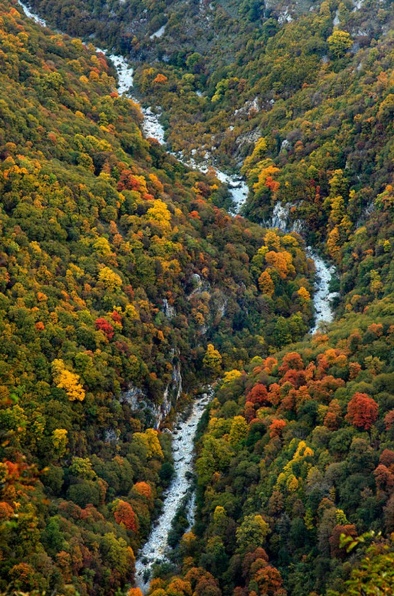 View of Vikos Canyon in Greece in Autumn