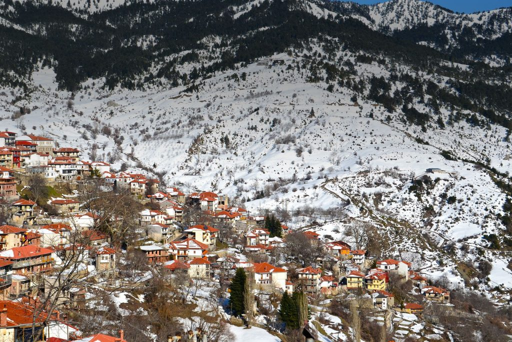 View of the snow-kissed edifices in Greece during Winter