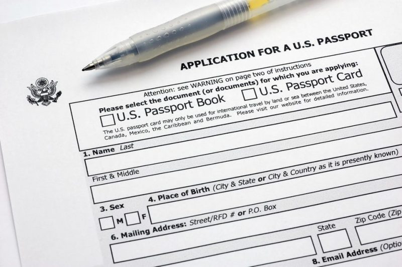 US Passport Application Paper