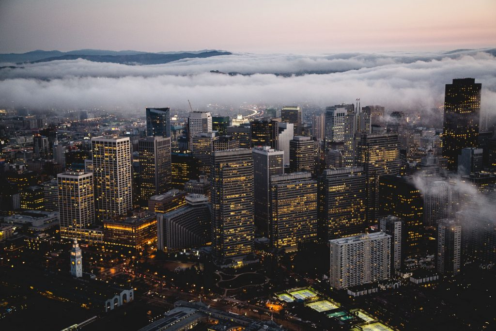San Francisco as seen from above during a foggy and cold winter afternoon