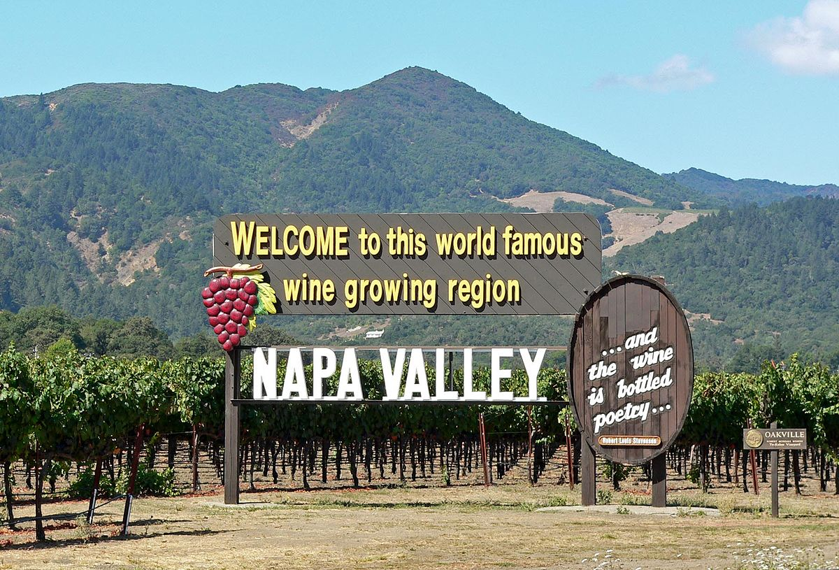 The Napa Valley sign marks where the wine region starts