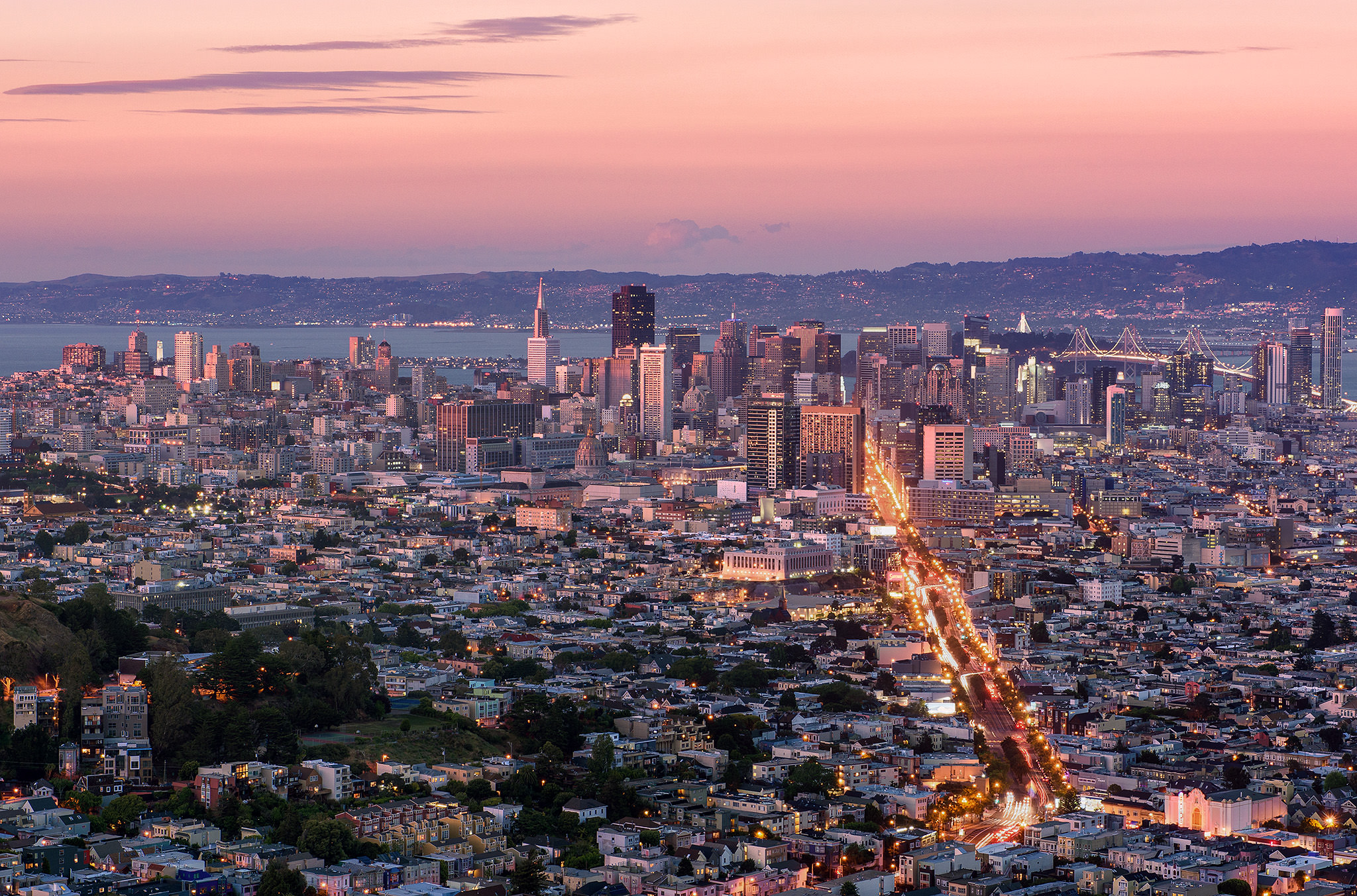 The view from up the Twin Peaks is stunning at dusk when the streetlights are turned on