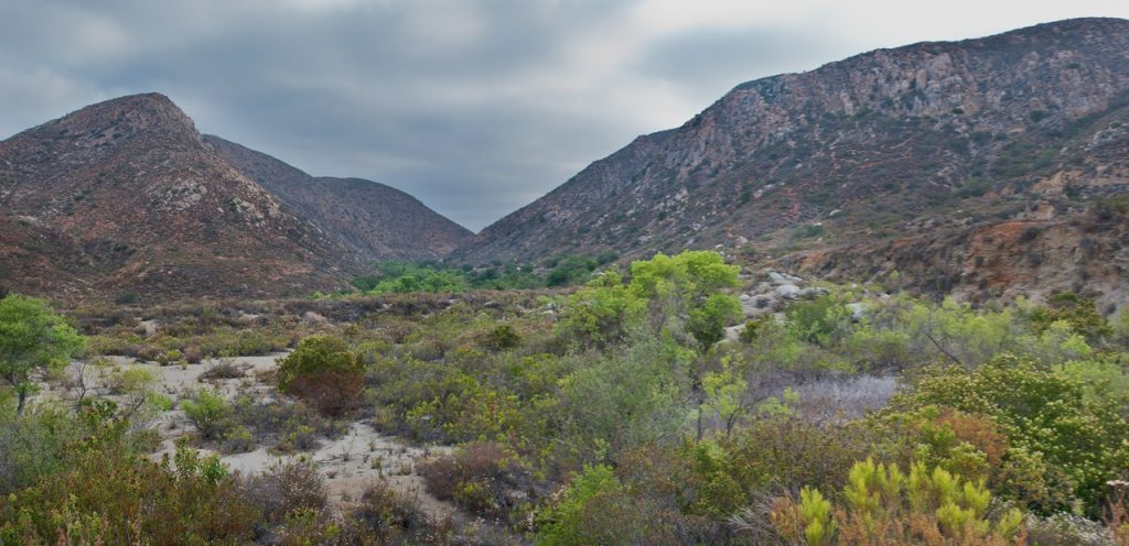 View of the towering mountains in the Mission Trails Regional park in San Diego