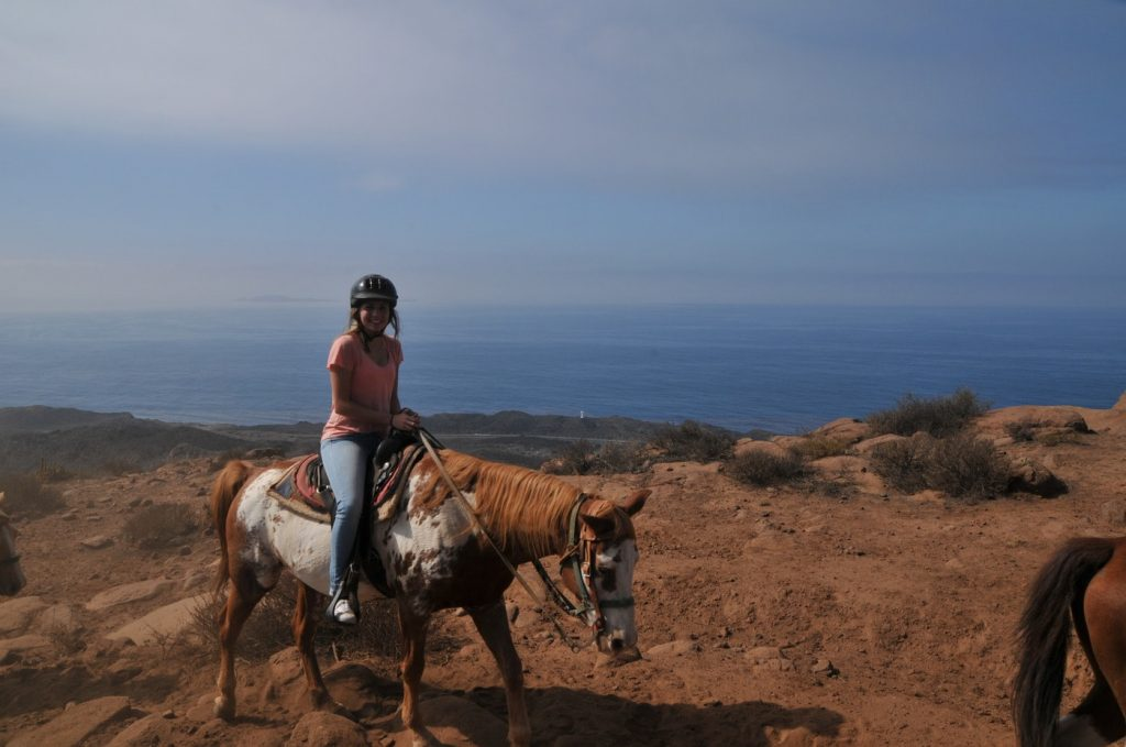 View of a woman on the Baja Bandidos Trail in Ensenada Mexico