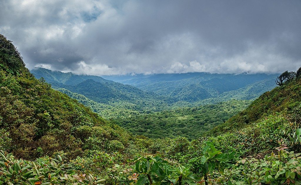 View of the rain mountainous landscape in Costa Rica during rainy season