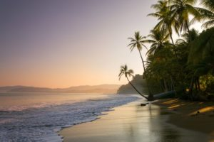 Sunset view of a Costa Rica beach in August