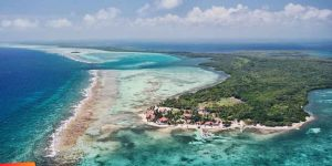 Aerial view of one of the best places to travel alone, Ambergris Caye