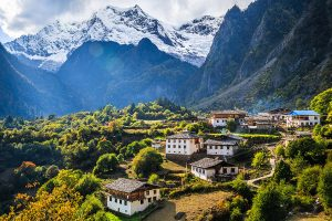 View of the remote Yubeng Village in China