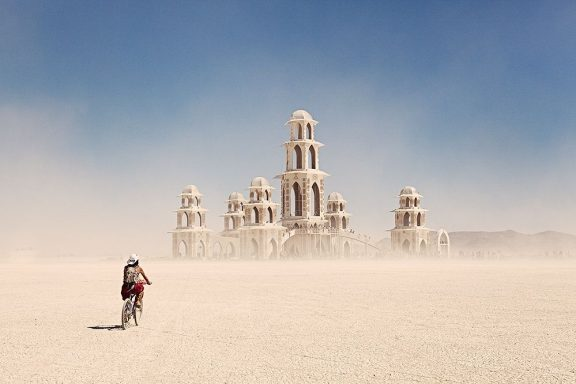View of a a construction on the Playa at Burning Man
