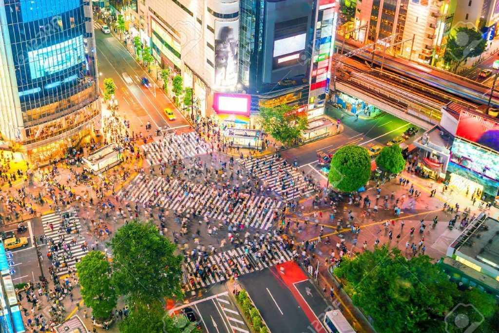 Aerial view of crosswalk in the bustling district of Shibuya