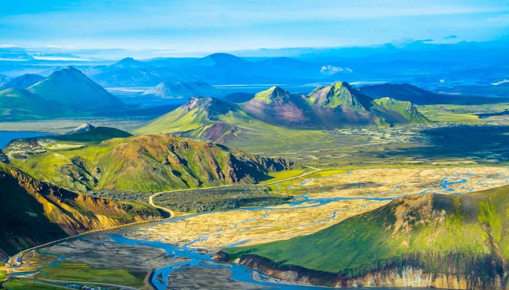 Green mountainous landscape of Iceland as viewed from above