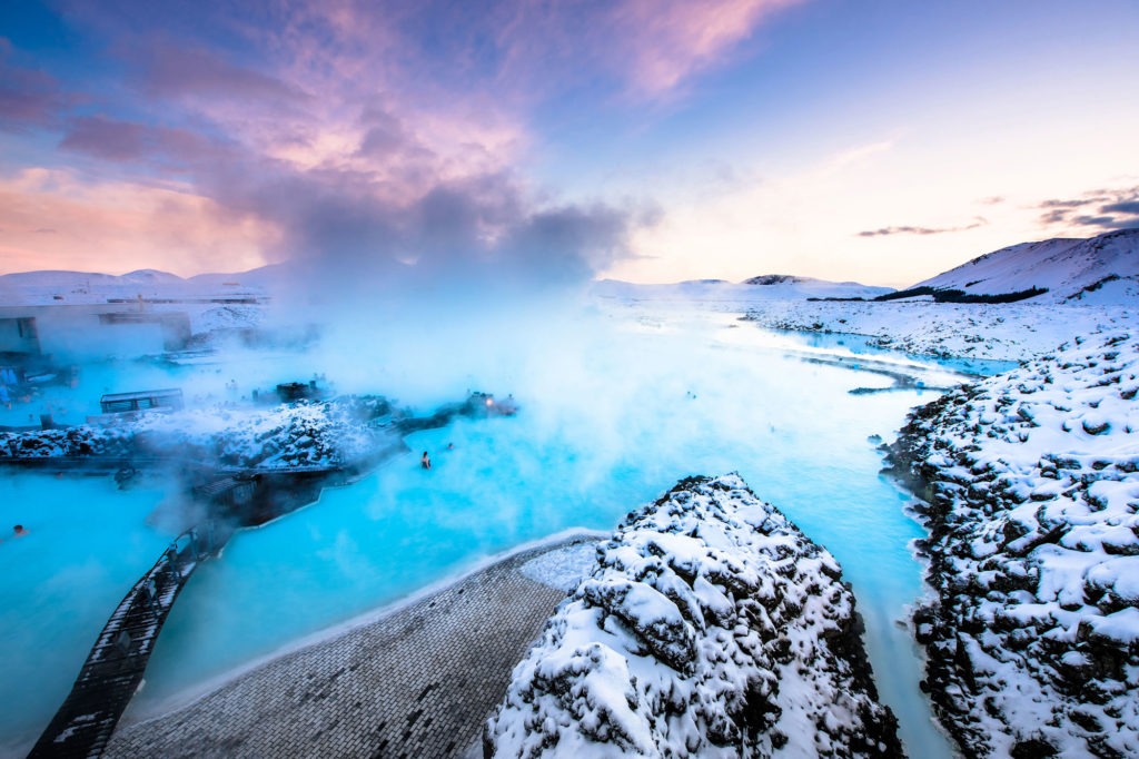 The Blue Lagoon in Iceland throws steam clouds up into the air