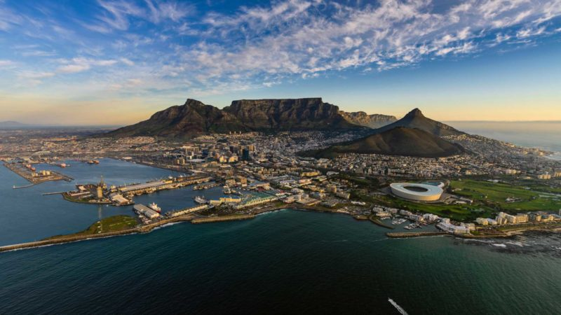 An aerial view shot of Cape Town in South Africa