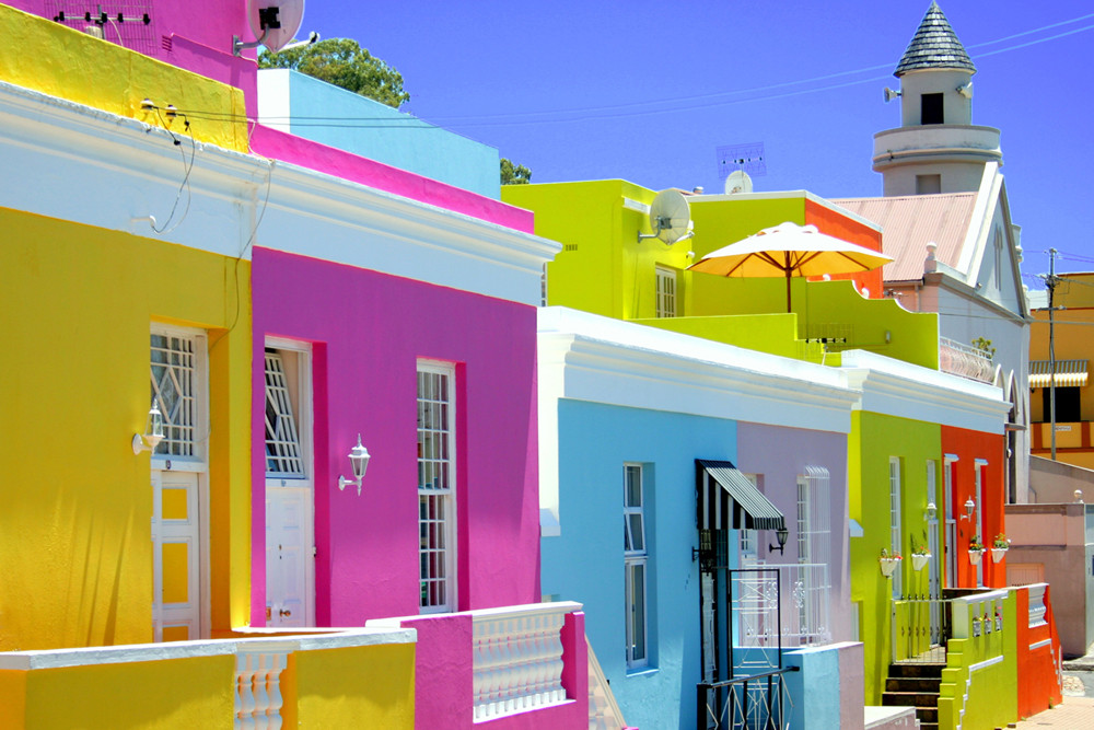 Colorful houses dot the streets of the neighborhood Bo Kaap in Cape Town