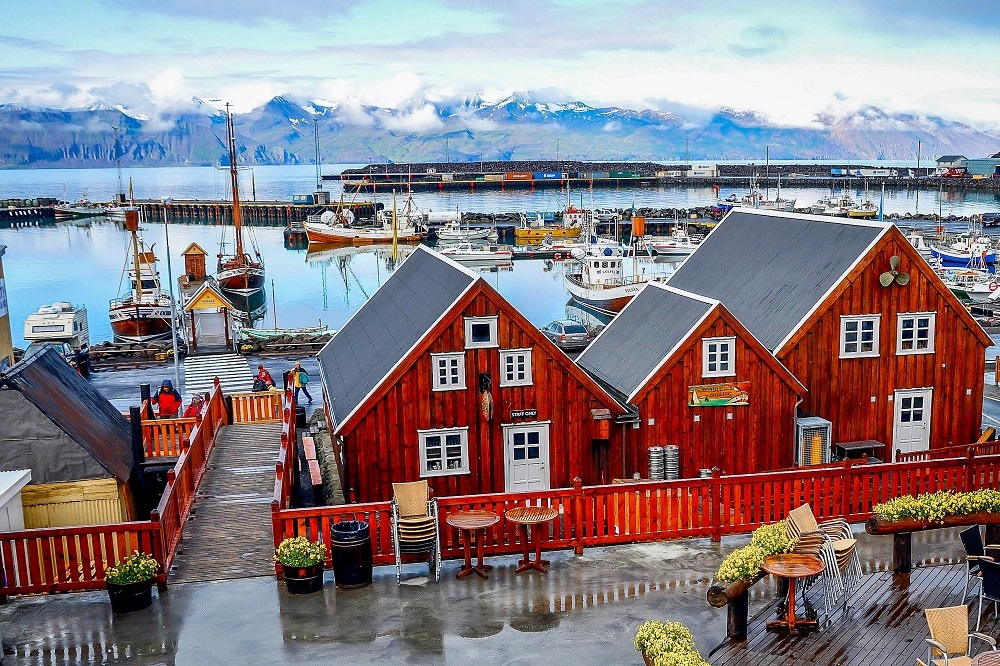 Red wooden buildings in a small and quaint whale-hunting village, Husavik